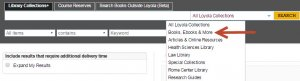 Library search scope menu, with book scope highlighted